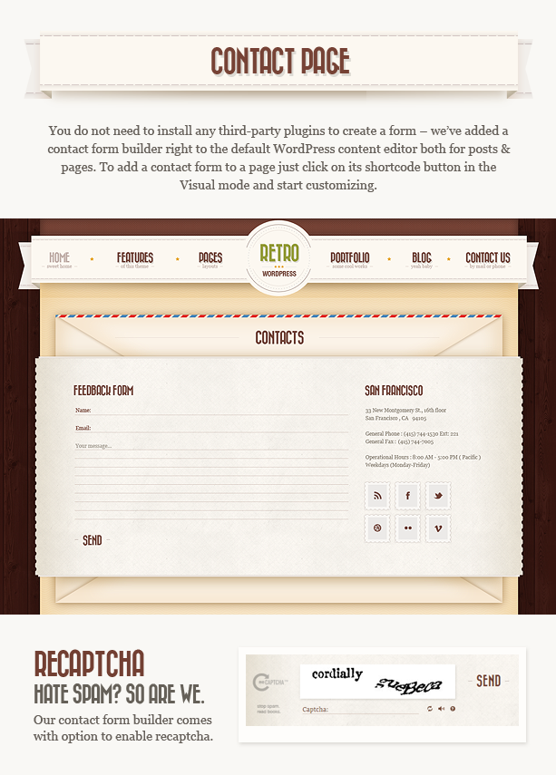 contacts n - Retro - Vintage WordPress Theme