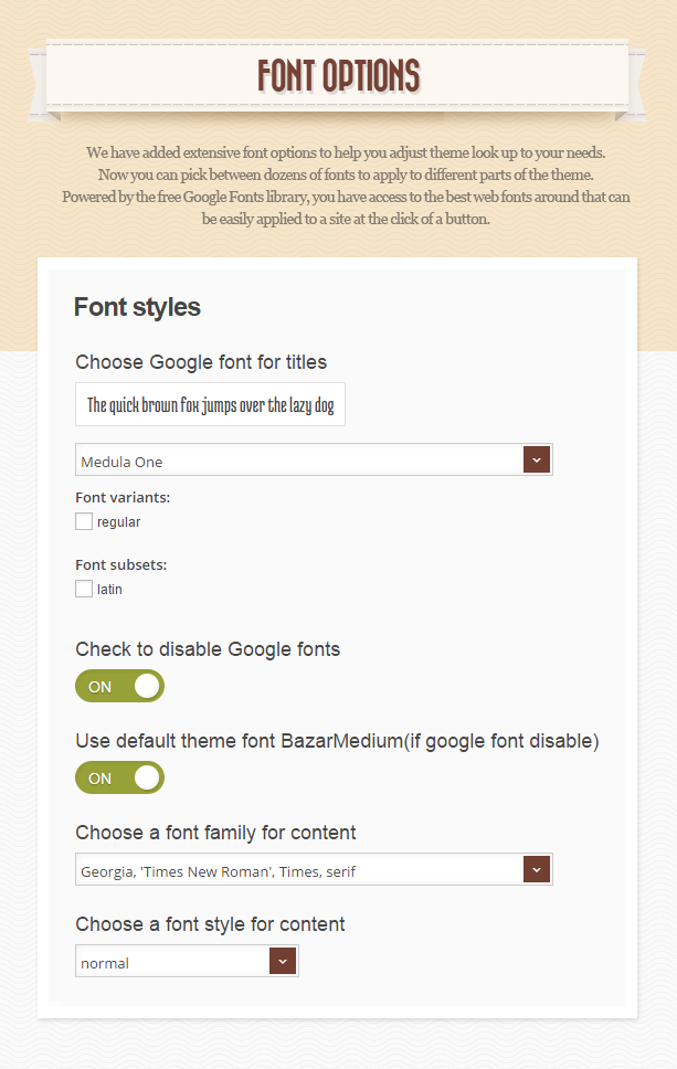 fonts n - Retro - Vintage WordPress Theme